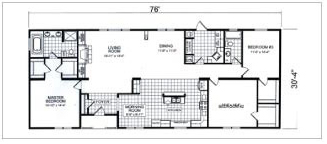3424, Floorplan, Manufactured Homes in Paris, TN